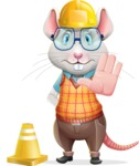 Smart Mouse with Glasses Cartoon Vector Character - as a Construction worker