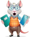 Smart Mouse with Glasses Cartoon Vector Character - Choosing between Book and Tablet