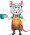 Smart Mouse with Glasses Cartoon Vector Character - Drinking Coffee