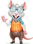 Smart Mouse with Glasses Cartoon Vector Character - Feeling Bored
