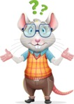 Smart Mouse with Glasses Cartoon Vector Character - Feeling Confused