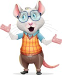 Smart Mouse with Glasses Cartoon Vector Character - Feeling Lost