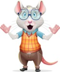 Smart Mouse with Glasses Cartoon Vector Character - Feeling Shocked