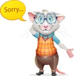 Smart Mouse with Glasses Cartoon Vector Character - Feeling sorry