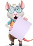 Smart Mouse with Glasses Cartoon Vector Character - Holding a Blank banner