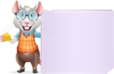 Smart Mouse with Glasses Cartoon Vector Character - Holding a Blank sign and Pointing