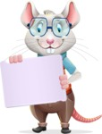 Smart Mouse with Glasses Cartoon Vector Character - Holding a Blank sign