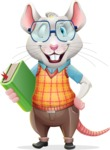 Smart Mouse with Glasses Cartoon Vector Character - Holding a book
