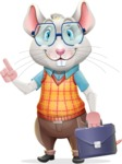 Smart Mouse with Glasses Cartoon Vector Character - Holding a briefcase
