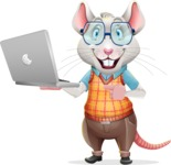 Smart Mouse with Glasses Cartoon Vector Character - Holding a laptop