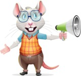 Smart Mouse with Glasses Cartoon Vector Character - Holding a Loudspeaker