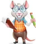 Smart Mouse with Glasses Cartoon Vector Character - Holding a notepad with pencil