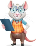 Smart Mouse with Glasses Cartoon Vector Character - Holding a notepad