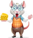 Smart Mouse with Glasses Cartoon Vector Character - Holding a piece of cheese