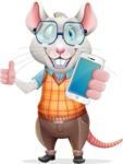 Smart Mouse with Glasses Cartoon Vector Character - Holding a smartphone
