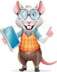 Smart Mouse with Glasses Cartoon Vector Character - Holding an iPad