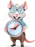 Smart Mouse with Glasses Cartoon Vector Character - Holding clock