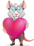 Smart Mouse with Glasses Cartoon Vector Character - Holding heart