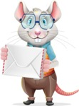 Smart Mouse with Glasses Cartoon Vector Character - Holding mail envelope
