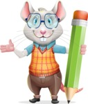 Smart Mouse with Glasses Cartoon Vector Character - Holding Pencil