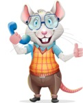 Smart Mouse with Glasses Cartoon Vector Character - Holding phone with thumbs up