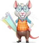 Smart Mouse with Glasses Cartoon Vector Character - Holding Plans