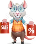 Smart Mouse with Glasses Cartoon Vector Character - Holding shopping bags