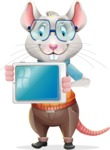 Smart Mouse with Glasses Cartoon Vector Character - Holding tablet