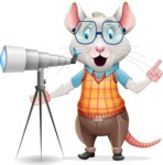 Smart Mouse with Glasses Cartoon Vector Character - Looking through telescope