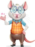 Smart Mouse with Glasses Cartoon Vector Character - Making a Duckface for a selfie
