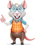 Smart Mouse with Glasses Cartoon Vector Character - Making a point