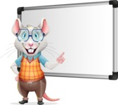 Smart Mouse with Glasses Cartoon Vector Character - Making a Presentation on a Blank white board