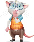 Smart Mouse with Glasses Cartoon Vector Character - Making Oops gesture