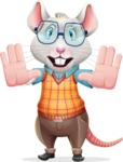 Smart Mouse with Glasses Cartoon Vector Character - Making stop gesture with both hands