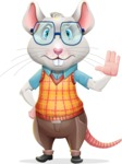 Smart Mouse with Glasses Cartoon Vector Character - Making stop with a hand