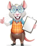 Smart Mouse with Glasses Cartoon Vector Character - Making thumbs up with notepad