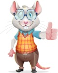 Smart Mouse with Glasses Cartoon Vector Character - Making Thumbs Up