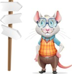 Smart Mouse with Glasses Cartoon Vector Character - on a Crossroad with sign pointing in all directions
