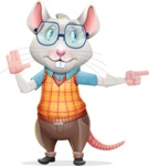 Smart Mouse with Glasses Cartoon Vector Character - Pointing with a fnger