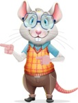 Smart Mouse with Glasses Cartoon Vector Character - Pointing with both hands