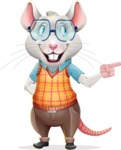 Smart Mouse with Glasses Cartoon Vector Character - Pointing with left hand