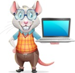 Smart Mouse with Glasses Cartoon Vector Character - Presenting on laptop