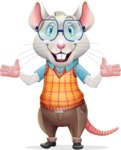 Smart Mouse with Glasses Cartoon Vector Character - Presenting with both hands