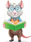 Smart Mouse with Glasses Cartoon Vector Character - Reading a book