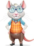 Smart Mouse with Glasses Cartoon Vector Character - Rolling Eyes