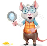 Smart Mouse with Glasses Cartoon Vector Character - Searching with magnifying glass