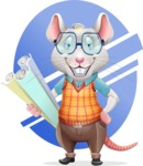 Smart Mouse with Glasses Cartoon Vector Character - Shape 10