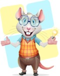 Smart Mouse with Glasses Cartoon Vector Character - Shape 12