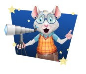 Smart Mouse with Glasses Cartoon Vector Character - Shape 4