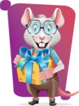 Smart Mouse with Glasses Cartoon Vector Character - Shape 5